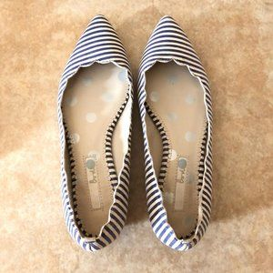 Boden Blue White Stripe Pointed Flats